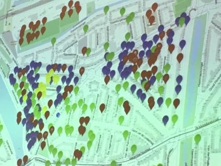 Touchpoints van Wilco.. Alle blauwe stippen zijn plekken waar hij al eens gegeten heeft..